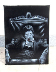 "Tony Montana Portrait, in chair with cocaine,  Original Oil Painting on Black Velvet by Enrique Felix , ""Felix"" - #F125"