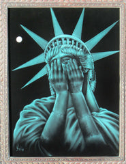 "Statue of Liberty Crying, ""Liberty in Crisis""  Original Oil Painting on Black Velvet by Enrique Felix , ""Felix"" - #F126"