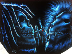 "Bob Marley and Lion Skull Smoking,  Original Oil Painting on Black Velvet by Enrique Felix , ""Felix"" - #F129"