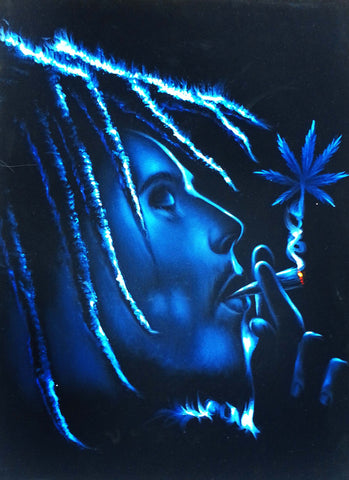 "Bob Marley Smoking,  Original Oil Painting on Black Velvet by Enrique Felix , ""Felix"" - #F130"