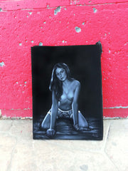 "Nude, Sexy Playboy Nude in Grey-scale,  Original Oil Painting on Black Velvet by Enrique Felix , ""Felix"" - #F131"