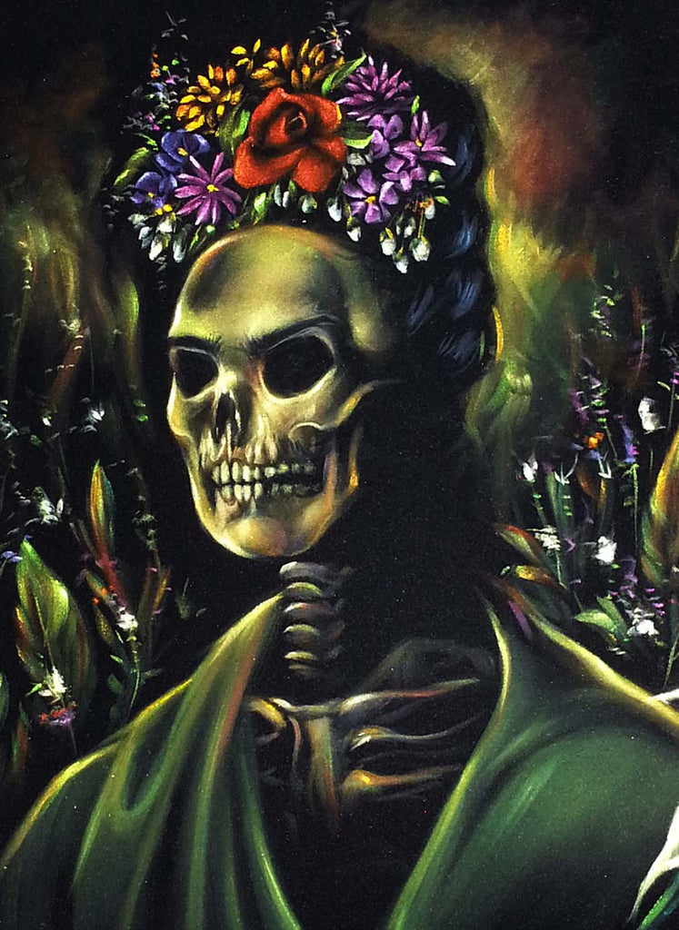 "Frida Kahlo Portrait , Calavera de Frida, Original Oil Painting on Black Velvet by Enrique Felix , ""Felix"" - #F133"