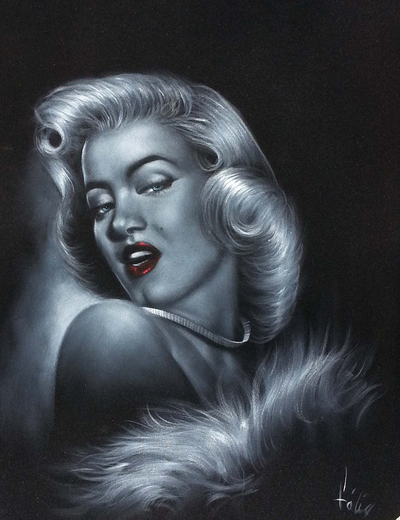 "Marilyn Monroe portrait,  Original Oil Painting on Black Velvet by Enrique Felix , ""Felix"" - #F134"