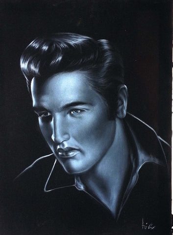 "Elvis Presley, Young Elvis, Original Oil Painting on Black Velvet by Enrique Felix , ""Felix"" - #F135"