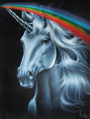 "Unicorn,  White magical rainbow Unicorn, Original Oil Painting on Black Velvet by Enrique Felix , ""Felix"" - #F137"