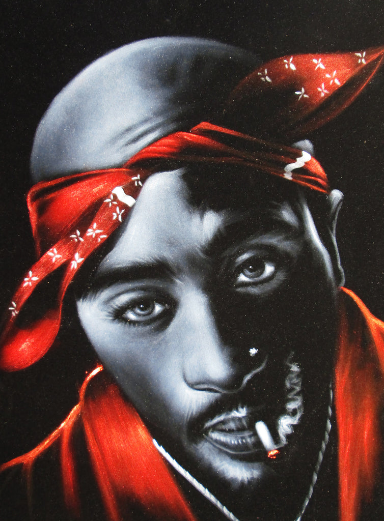 "Tupac Amaru Shakur portrait, 2Pac,  Original Oil Painting on Black Velvet by Enrique Felix , ""Felix"" - #F148"