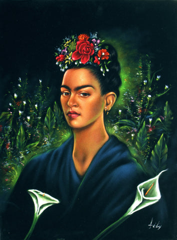 "Frida Kahlo Portrait  Original Oil Painting on Black Velvet by Enrique Felix , ""Felix"" - #F149"