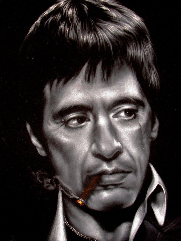 "Tony Montana Portrait,  Original Oil Painting on Black Velvet by Enrique Felix , ""Felix"" - #F150"