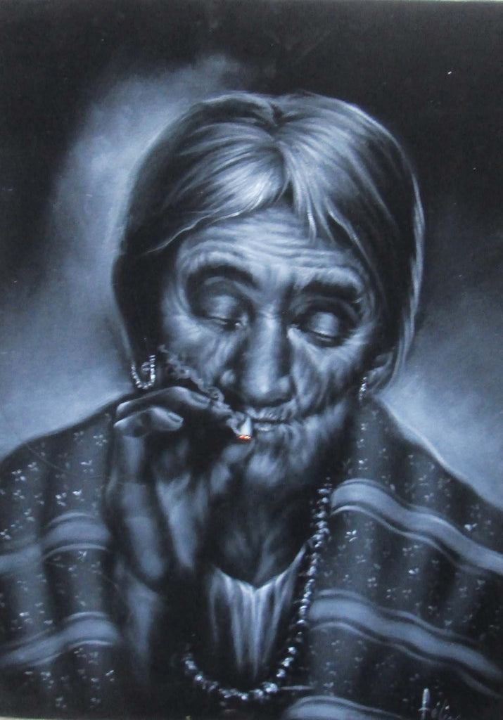 "Maria Sabina Portrait, Curandeiro Shaman Witch doctor ,   Original Oil Painting on Black Velvet by Enrique Felix , ""Felix"" - #F153"