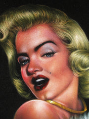 "Marilyn Monroe portrait,  Original Oil Painting on Black Velvet by Enrique Felix , ""Felix"" - #F165"