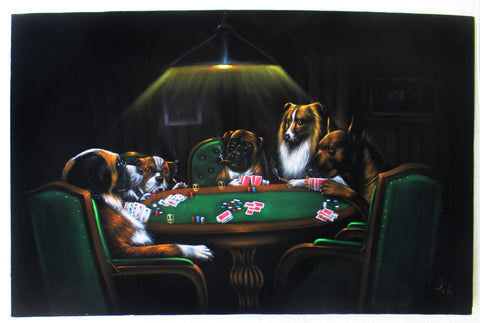 "Dogs playing poker,   Original Oil Painting on Black Velvet by Enrique Felix , ""Felix"" - #F168"