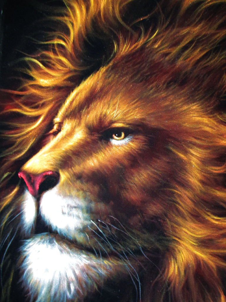 lion, aslan of chronicles of narnia, original oil painting on black