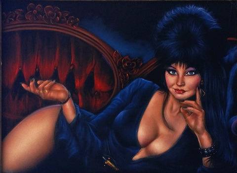 "Elvira: Mistress of the Dark,  Original Oil Painting on Black Velvet by Enrique Felix , ""Felix"" - #F170"