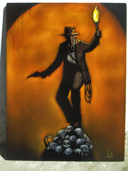 "Indiana Jones,   Original Oil Painting on Black Velvet by Enrique Felix , ""Felix"" - #F171"
