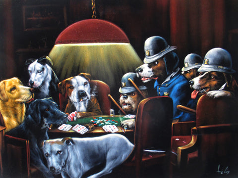 "Dogs playing poker,   Original Oil Painting on Black Velvet by Enrique Felix , ""Felix"" - #F174"