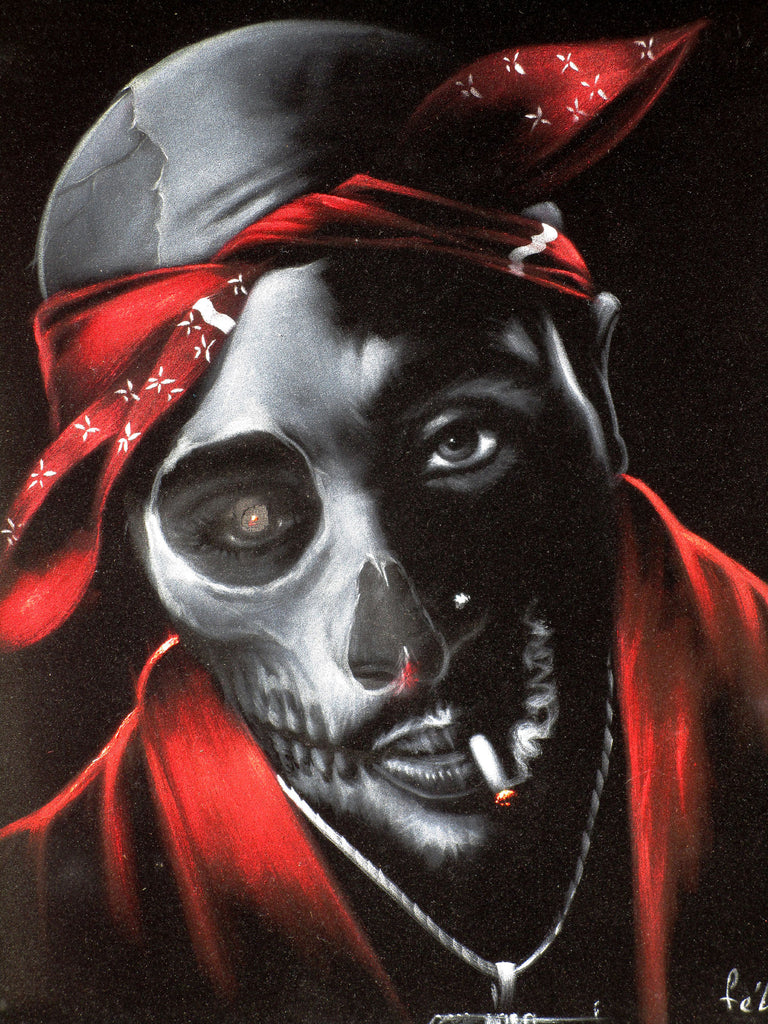 "Tupac Amaru Shakur portrait, 2Pac,  Original Oil Painting on Black Velvet by Enrique Felix , ""Felix"" - #F180"
