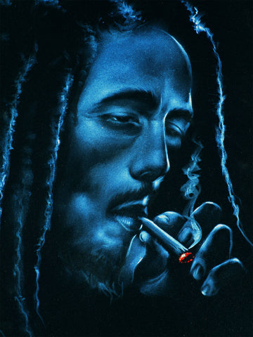 "Bob Marley Smoking in Blue,  Original Oil Painting on Black Velvet by Enrique Felix , ""Felix"" - #F181"