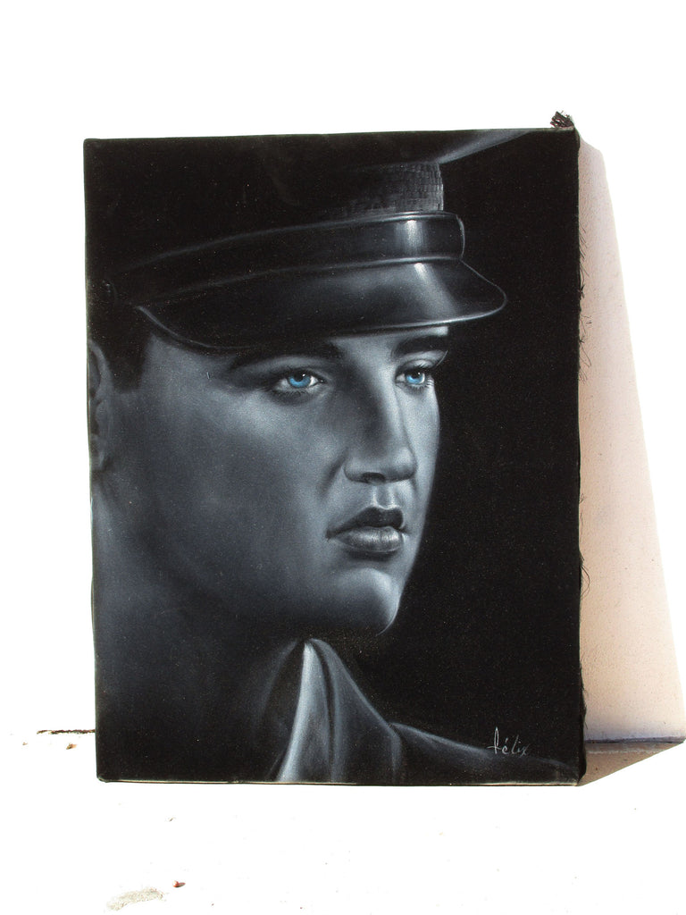 "Elvis Presley, in Army,  Original Oil Painting on Black Velvet by Enrique Felix , ""Felix"" - #F182"