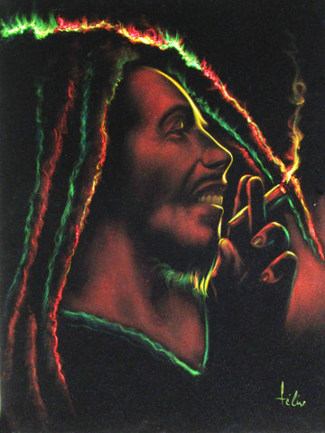 "Bob Marley Smoking,  Original Oil Painting on Black Velvet by Enrique Felix , ""Felix"" - #F183"