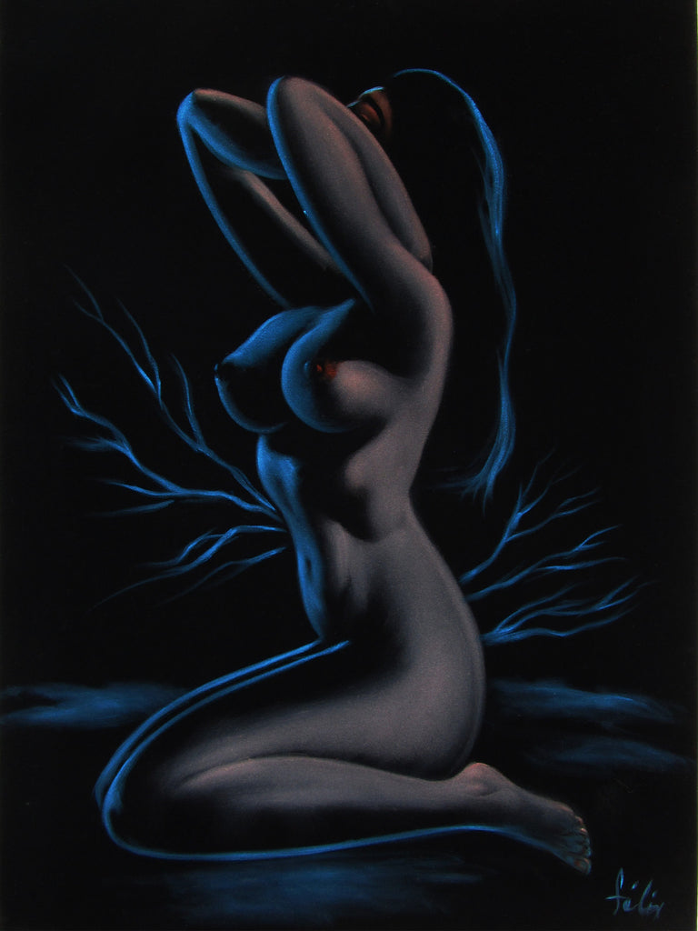 "Nude, Sexy Chiaroscuro Nude in the Night Desert,  Original Oil Painting on Black Velvet by Enrique Felix , ""Felix"" - #F184"