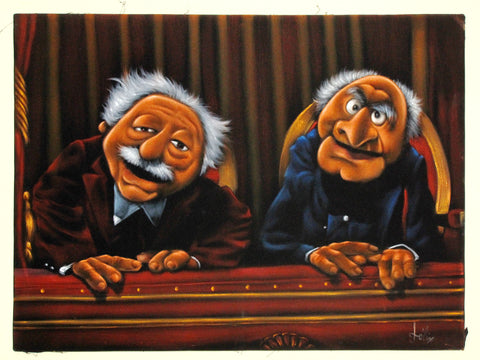 "Statler and Waldorf, Muppet Show,  Original Oil Painting on Black Velvet by Enrique Felix , ""Felix"" - #F194"