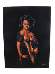 "Nude, Sexy Playboy Nude   Original Oil Painting on Black Velvet by Enrique Felix , ""Felix"" - #F195"