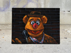 "Fozzie Bear of the Muppet Show,  Original Oil Painting on Black Velvet by Enrique Felix , ""Felix"" - #F196"