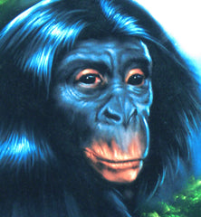 "Chimpanzee, Chimp Original Oil Painting on Black Velvet by Enrique Felix , ""Felix"" - #F20"