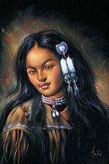 "Indian Girl Portrait  Original Oil Painting on Black Velvet by Enrique Felix , ""Felix"" - #F231"