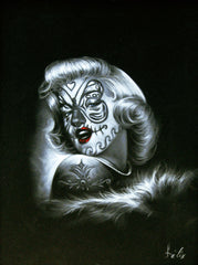 "Marilyn Monroe, Sugar Skull Girl, Calavera, Día de muertos, Day of the Dead, Original Oil Painting on Black Velvet by Enrique Felix , ""Felix"" - #F41"