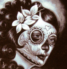 "Sugar Skull Girl, Calavera, Día de muertos, Day of the Dead, Original Oil Painting on Black Velvet by Enrique Felix , ""Felix"" - #F42"