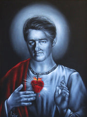 "Bill Clinton Sacred Heart , President, Political Catholic Christian art,  Original Oil Painting on Black Velvet by Enrique Felix , ""Felix"" - #F52"
