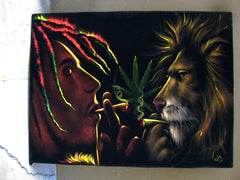 "Bob Marley and Lion  Smoking,  Original Oil Painting on Black Velvet by Enrique Felix , ""Felix"" - #F61"