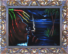 "Bob Marley Smoking,  Original Oil Painting on Black Velvet by Enrique Felix , ""Felix"" - #F92"