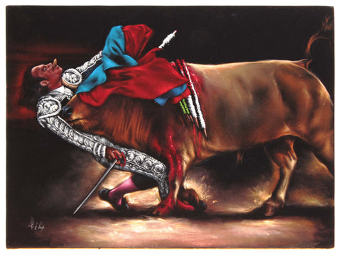 "Bullfight , Matador  Julio Aparicio gored,   Original Oil Painting on Black Velvet by Enrique Felix , ""Felix"" - #F93"