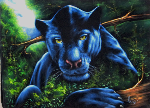 "Panther, Black Panther, Cougar ,   Original Oil Painting on Black Velvet by Enrique Felix , ""Felix"" - #F94"