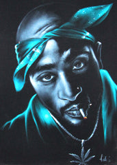 "Tupac Amaru Shakur portrait, 2Pac,  Original Oil Painting on Black Velvet by Enrique Felix , ""Felix"" - #F95"