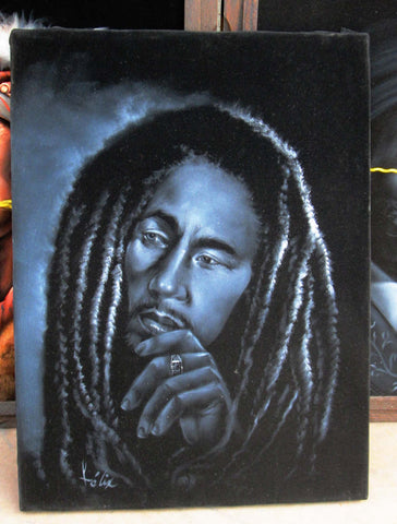 "Bob Marley Legend album cover painting,  Original Oil Painting on Black Velvet by Enrique Felix , ""Felix"" - #F98"