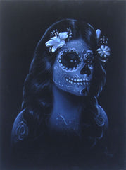 "Sugar Skull Face paint girl, Day of the Dead (Día de los Muertos), Original Oil Painting on Black Velvet by Enrique Felix , ""Felix"" - #F99"