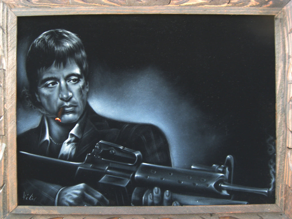 "Tony Montana ,  Original Oil Painting on Black Velvet by Enrique Felix , ""Felix"" - #F63"