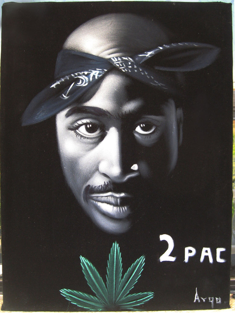 "Tupac Shakur Portrait , Original Oil Painting on Black Velvet by Alfredo Rodriguez ""ARGO"" - #A7"