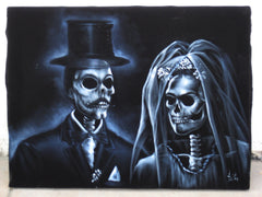"Calavera, La Calavera Wedding, Original Oil Painting on Black Velvet by Enrique Felix , ""Felix"" - #F6"