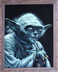 "Yoda Portrait Star Wars Art , Oil Painting Art Black Velvet ; Original Oil painting on Black Velvet by Jorge Terrones -(size 18""x24"")- J003"