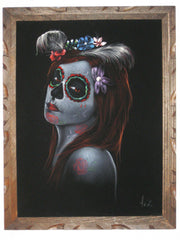 "Sugar Skull Girl, Calavera, Día de muertos, Day of the Dead, Original Oil Painting on Black Velvet by Enrique Felix , ""Felix"" - #F31"