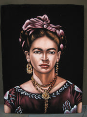 "Frida Kahlo ; Original Oil Painting on Black Velvet ;   by Jorge Terrones -(size 18""x24"")-p2 J012"