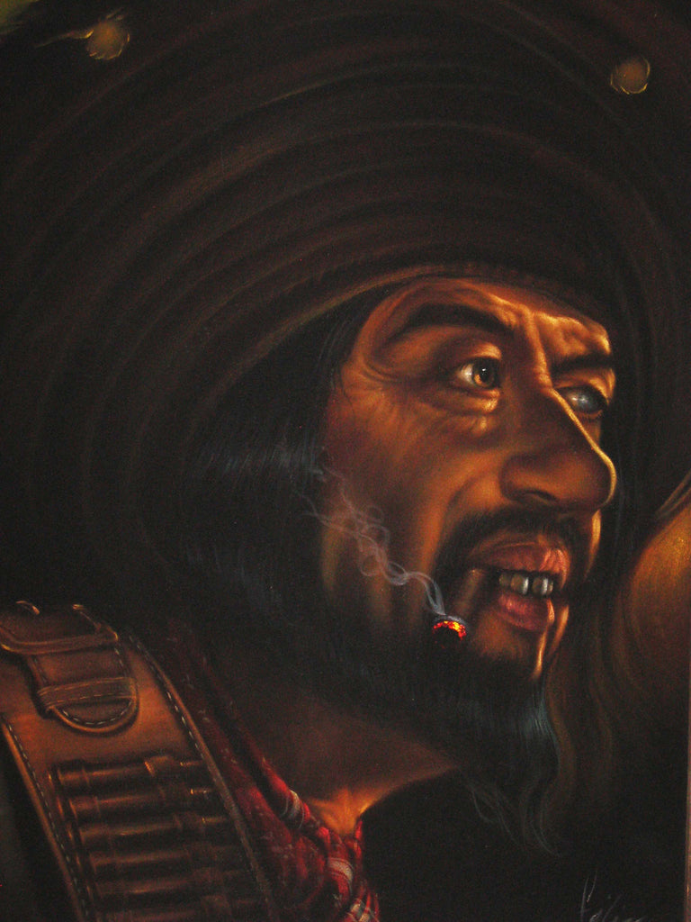 "Bandit, Mexican Pirate, Gun fighter, Cowboy, wild west outlaw, Original Oil Painting on Black Velvet by Enrique Felix , ""Felix"" - #F036"