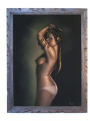 "Nude, Sexy Egyptian Playboy Nude in color,  Original Oil Painting on Black Velvet by Enrique Felix , ""Felix"" - #F26"