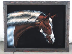 "Horse, Stallion horse portrait, Original Oil Painting on Black Velvet by Enrique Felix , ""Felix"" - #F19"