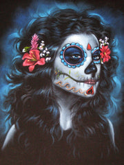 "Sugar Skull Girl, Calavera, Día de muertos, Day of the Dead, Original Oil Painting on Black Velvet by Enrique Felix , ""Felix"" - #F38"