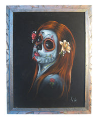 "Sugar Skull Girl, Calavera, Día de muertos, Day of the Dead, Original Oil Painting on Black Velvet by Enrique Felix , ""Felix"" - #F39"